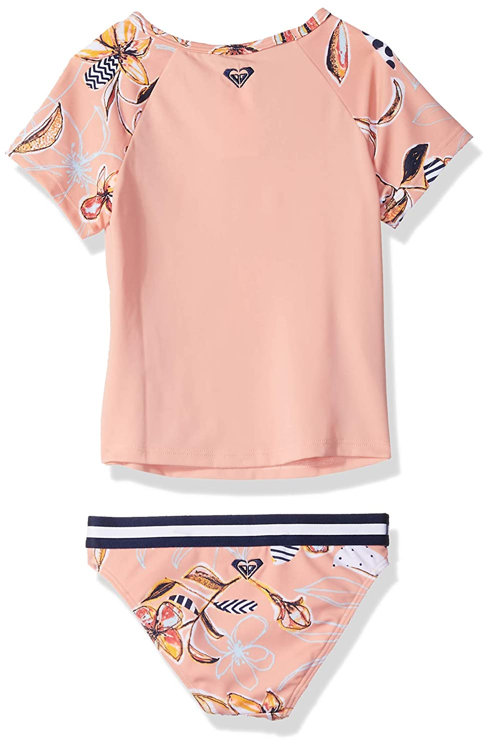 Roxy Girls Lets Be Short Sleeve Rashguard Swimsuit Set ERLWR03084