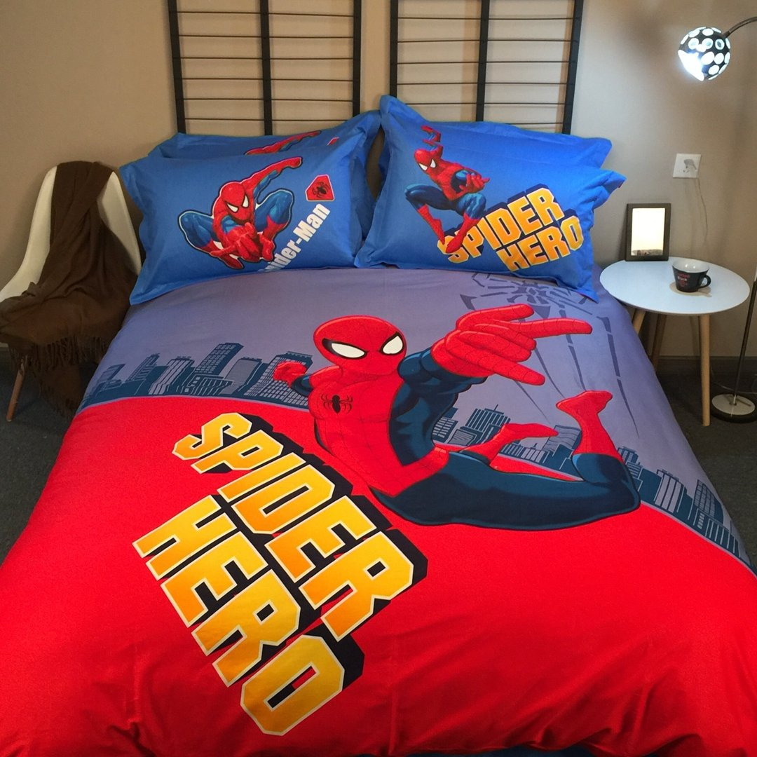 CASA 100% Cotton Kids Bedding Set Boys Spiderman Duvet cover and Pillow cases and Fitted Sheet,4 Pieces,Queen,Woody and Buzz Lightyear