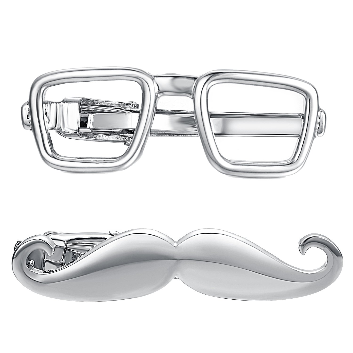 Yoursfs 2PCS Glasses &Moustache Tie Clips for Boys Stainless Steel Color Funny Cool Tie Bar (Silver Plated)