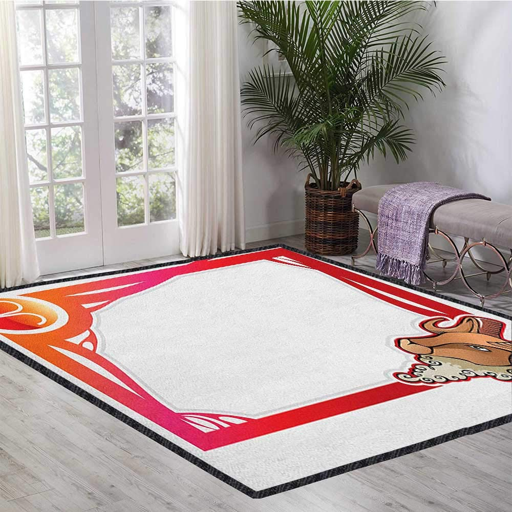 Zodiac Aries Decor Area Rug,The First Sign of The Zodiac Frame Design with Cartoon Animal Icon and Symbol Suitable for Bedroom Home Decor Multicolor 47''x59'' by Philip C. Williams