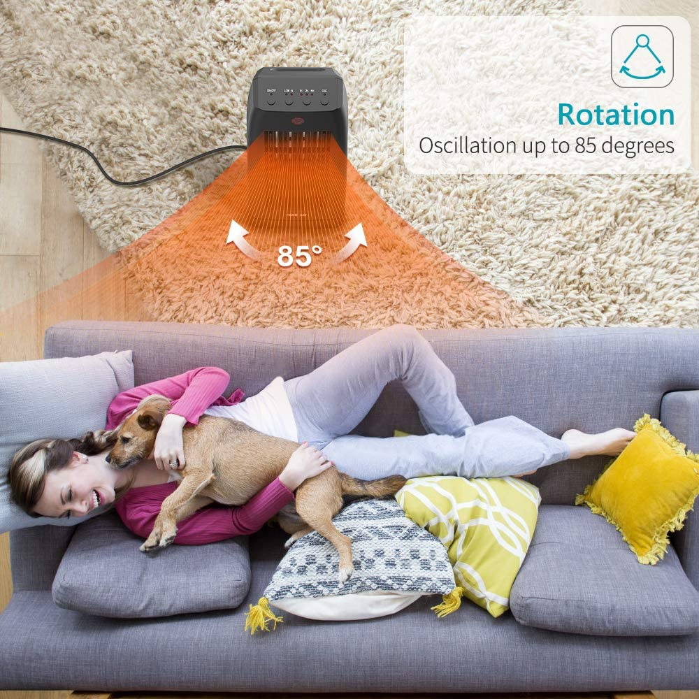 OPOLAR Oscillating Ceramic Tower Space Heater with Remote Control Quiet/Portable Electric Floor Heater for Room Offices Indoor Use 1-7H Timer Tip-over /& Overheat Protection