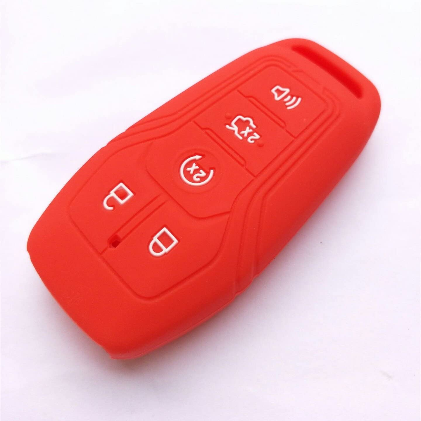 3Pcs MJKEY New 5 Buttons Black Red Blue Silicone Key Case Cover Fob Remote Skin Holder Keyless Entry for FORD Fusion Mustang F-550 F-450 F-150 Edge EXPLORER LINCOLN MKZ MKC M3N-A2C31243300