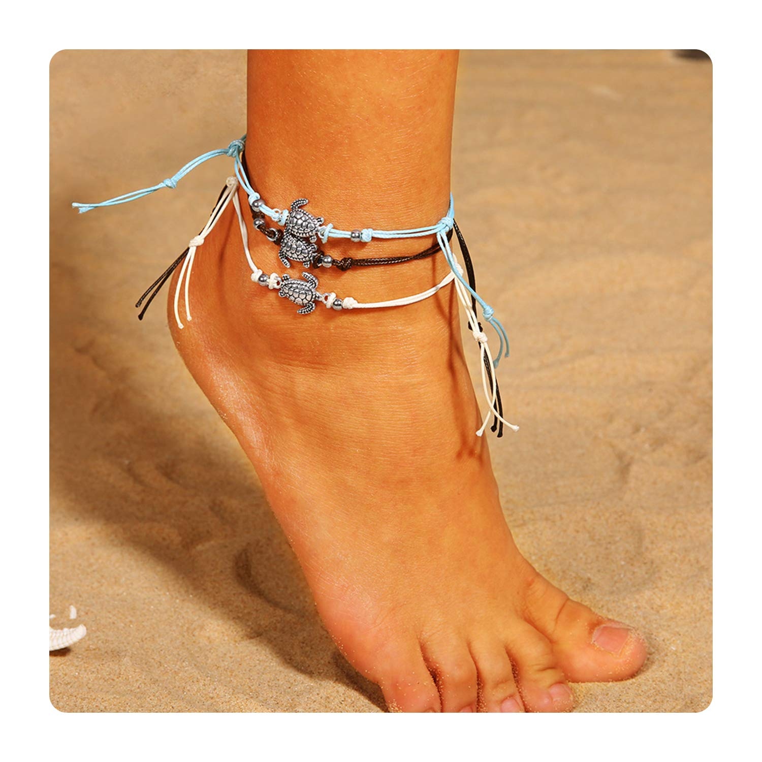 Esberry Beach Anklets Sea Turtle Anklet Wax Rope Charm Boho Infinite Foot Chains Handmade Jewelry for Women and Girls(3pcs) B07G13J5FL_US