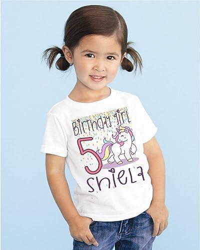 ebadc9142 Amazon.com: Girls Unicorn Personalized Birthday T Shirt TEE Custom NAME AGE  Cute Magic Gift DESIGN 2: Handmade