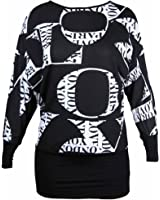 New Womens Plus Size Love Print Long Sleeve Top Ladies Stretch Fit Printed Pattern Batwing T-Shirt Tops