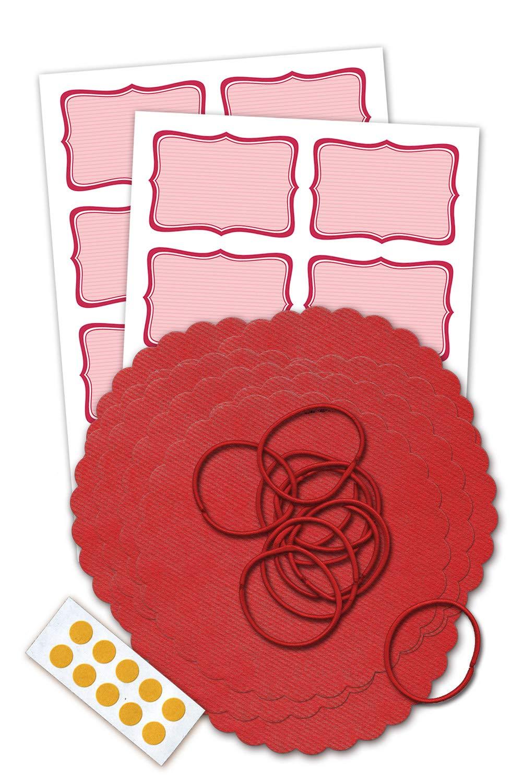 10 Schlaufen Marmeladendeckchen-Set inklusive 10 roten Vliesdeckchen 135 mm 10 Doppelklebepunkten und 16 Etiketten f/ür Ihre Marmelade