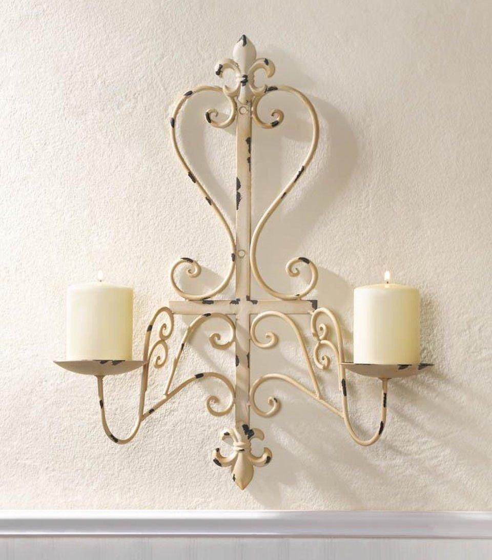 Antiqued Distressed Ivory Candle Wall Sconce Fleur De Lis Design