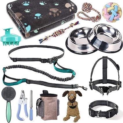 Amazon.com: Kit de iniciación para cachorros, accesorios para perros  pequeños y medianos, 17 piezas, collar y correa para perro, kit de  suministros para cachorros con arnés de perro y juego de cuencos: