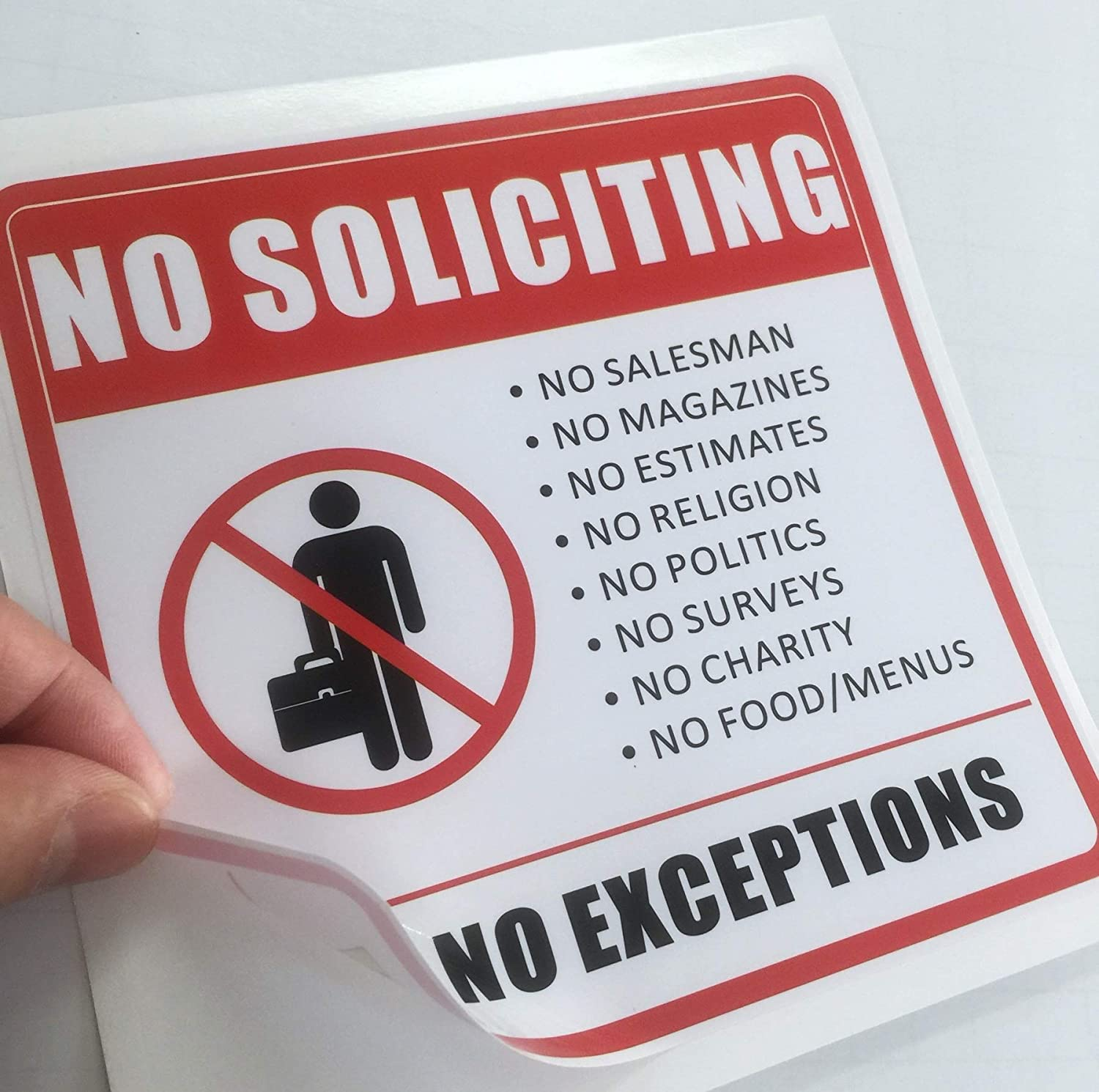 DECAL NO SOLICITING NO EXCEPTIONS 6 INCH X 4 INCH VINYL STICKER