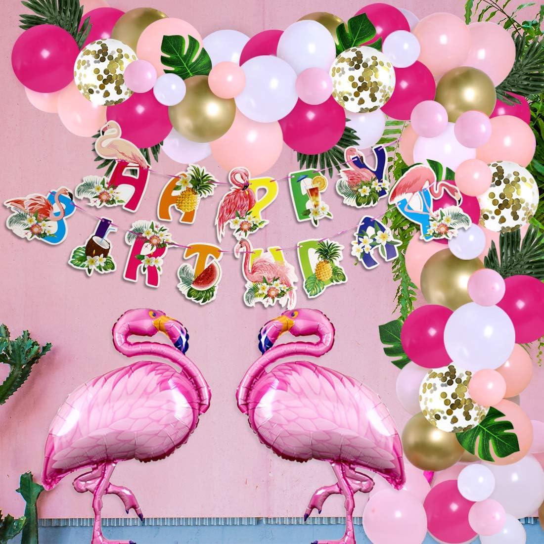 Flamingo Birthday Party Decorations for Girls Tropical Balloon Garland Arch Kit Flamingo Pineapple Happy Birthday Banner Hawaiian Luau Aloha Party Supplies 100 Pack