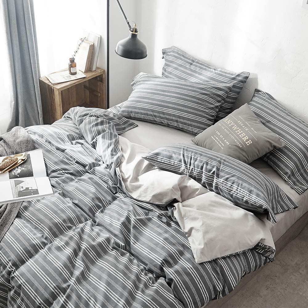 VClife White Stripe Duvet Cover Sets Cotton Gray Geometric Pattern Bedding Sets 100/% Cotton Lightweight Soft Comforter Cover Sets for Kid Teen Boy Man Adult 1 Duvet Cover 2 Pillow Cases Queen