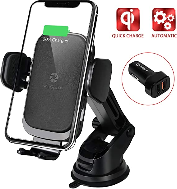 Auto-Clamping Car Air Vent Phone Holder with QC 3.0 10W for Compatible with Samsung Galaxy Note 10//9//8//S10//S9//S8 Qi Fast Wireless Car Charger Mount 7.5W for iPhone 11//Pro 11 //Pro Max//XS//X//XR//8//8+