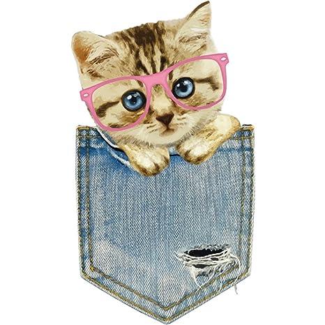 Parches para ropa de niños, adorable parche para gato, accesorio de bricolaje, lavable
