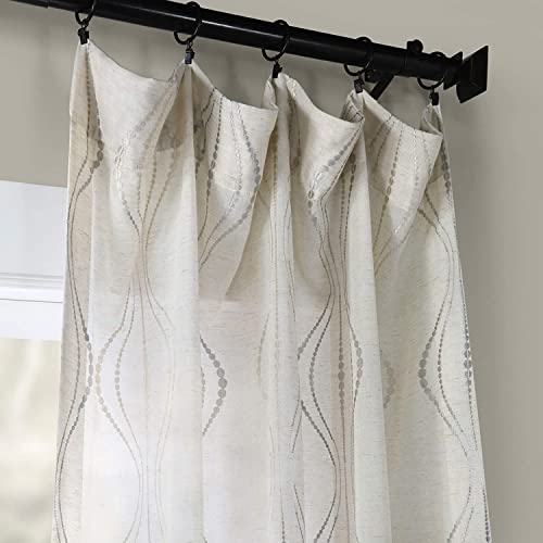 HPD Half Price Drapes SHCH-SLWE5294-120 Embroidered Faux Linen Sheer Curtain 1 Panel