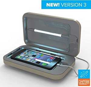 PhoneSoap 3 UV Smartphone Sanitizer & Universal Charger | Patented & Clinically Proven UV Light Disinfector | (Sand)