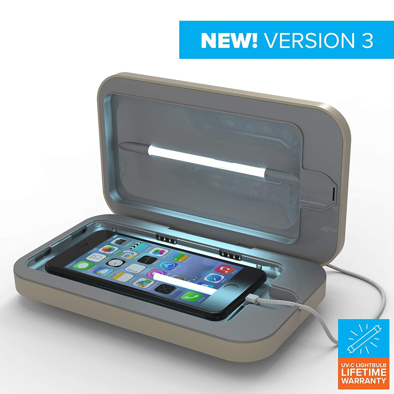 PhoneSoap 3 UV Cell Phone Sanitizer and Dual Universal Cell Phone Charger   Patented and Clinically Proven UV Light Sanitizer   Cleans and Charges All Phones - Sand