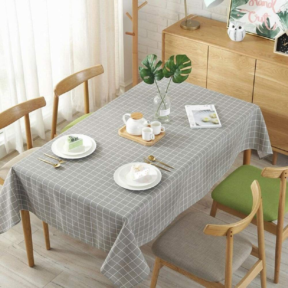 FUN HOME Cotton Linen Grey/White Table Cover Checkered Tablecloth for Kitchen Dinning Tabletop Decoration (Rectangle/Oblong, 55 x 70Inch)