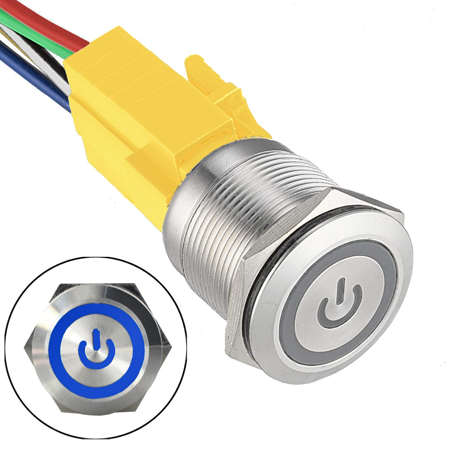 16mm Wire Harness Included Diameter Panel Cutout Hole JacobsParts Latching Maintained Pushbutton ON//OFF Power Switch Circular Metal Silver with Blue Power Symbol LED fits 5//8