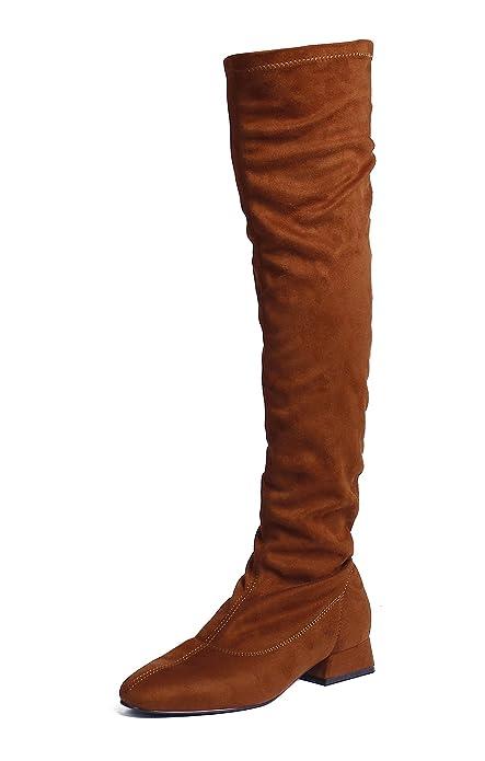 AgeeMi Shoes Donna Punta Tonda Tacco Basso Camoscio Sopra Il Ginocchio  Stivali 284c84deb2d