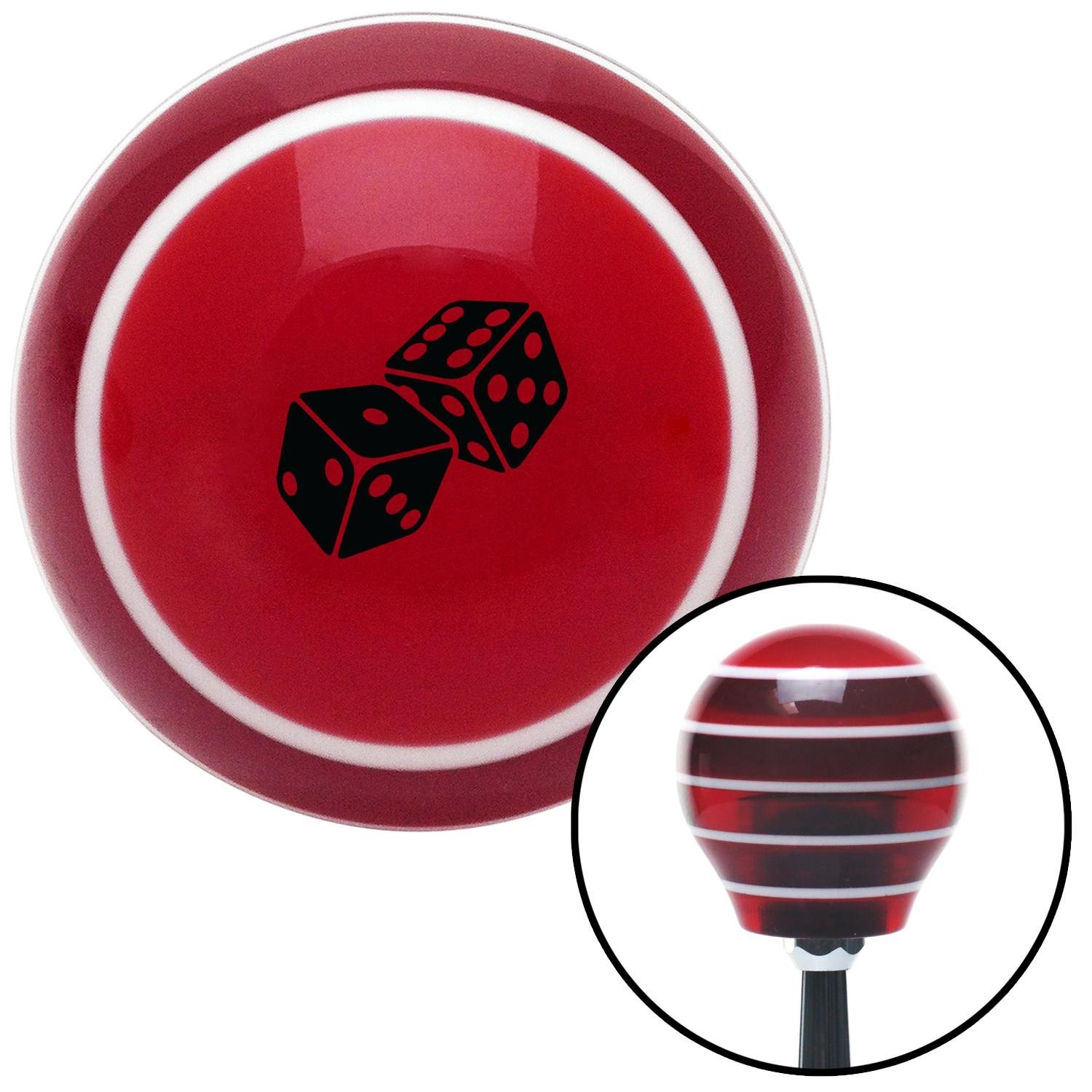 Black Set of Dice Red Stripe with M16 x 1.5 Insert American Shifter 273841 Shift Knob