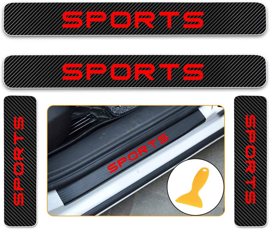 for Nissan Almera Teana Qashqai Patrol 370Z GTR Carbon Fiber Door Sill Protector Scratch Door Sill Guard 4D Welcome Pedals Guards Threshold Sticker Sticker Red 4Pcs
