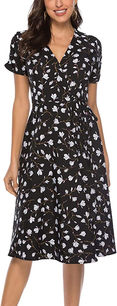 size large l vintage hawaiian mumu loose fitting floral dress brown short sleeve dress maternity clothing knee length midi dress
