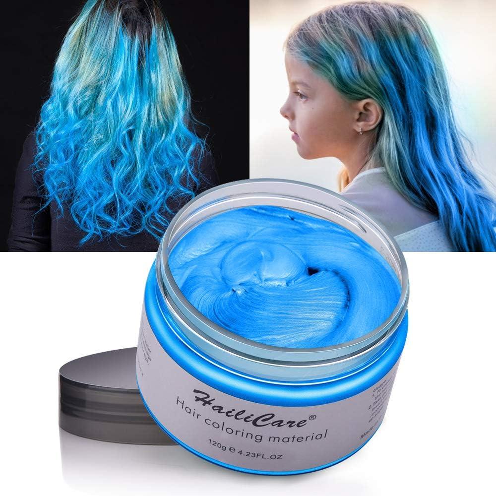 MOFAJANG Cera Cabello Temporal 2 Colors - Gris Plata y Azul Crema Colorante Pelo para DIY Colorear y Modelar el Cabello de Moda
