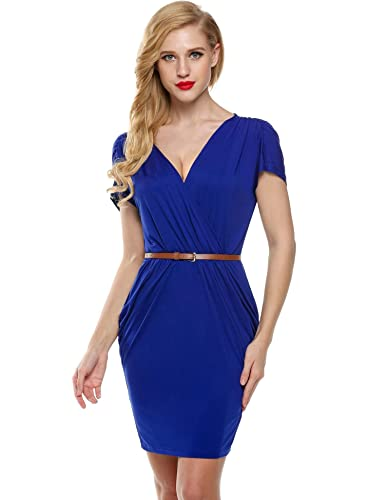 Meaneor Women's Deep V Neck Short Sleeve Sexy Slim Bodycon Dress with Belt