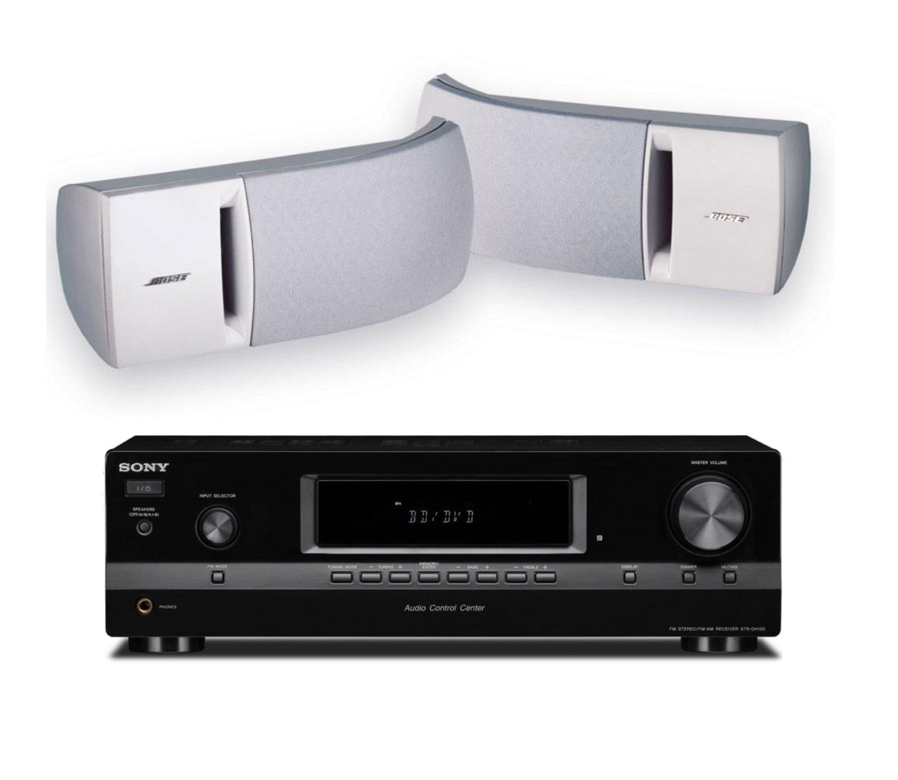 Bose 161 Full Range Bookshelf Speaker Duo (White) with Sony STRDH130 2 Channel Stereo Receiver