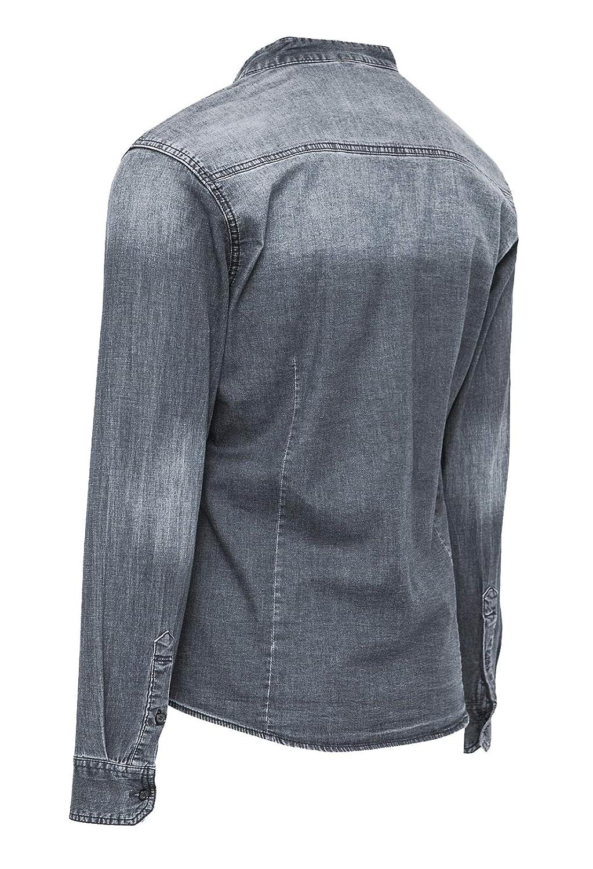 Evoga Camicia di Jeans Uomo Casual con Collo alla Coreana Slim Fit