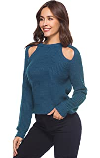 OKSakady Frauen Cold Shoulder Sweater Herbst Langarm Strick Pullover Tunika  Tops Shirt 18e2dba842