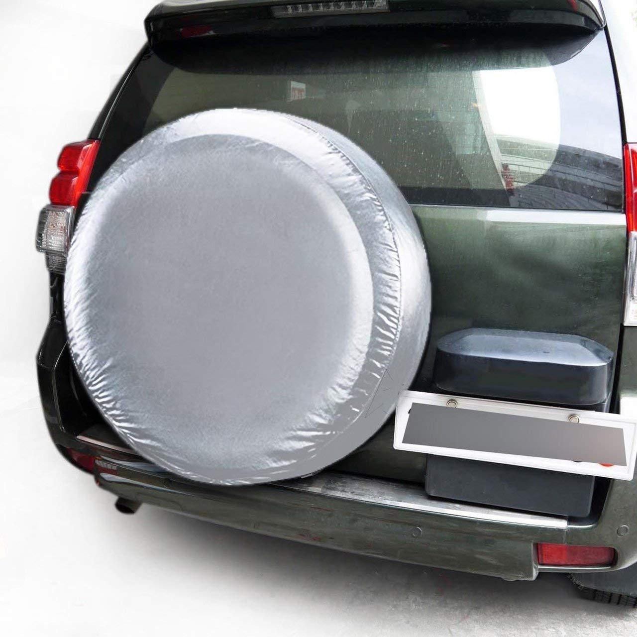 Couverture de Roue de Secours pour Voiture Automobile Heavy Duty Imperm/éable Roue de v/éhicule /Élastique Housse de Protection Sac de Couverture de Pneu Anti-poussi/ère pour SUV Argent