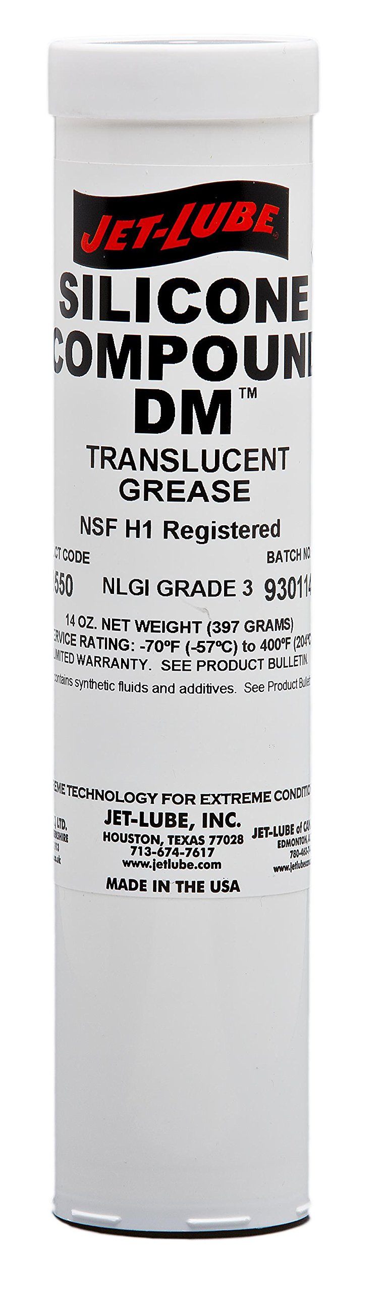 Jet-Lube 73550 Silicone DM Dielectric Grease, -70 to 400 degrees F, 3 NLGI Number, 14 oz Cartridge, Translucent