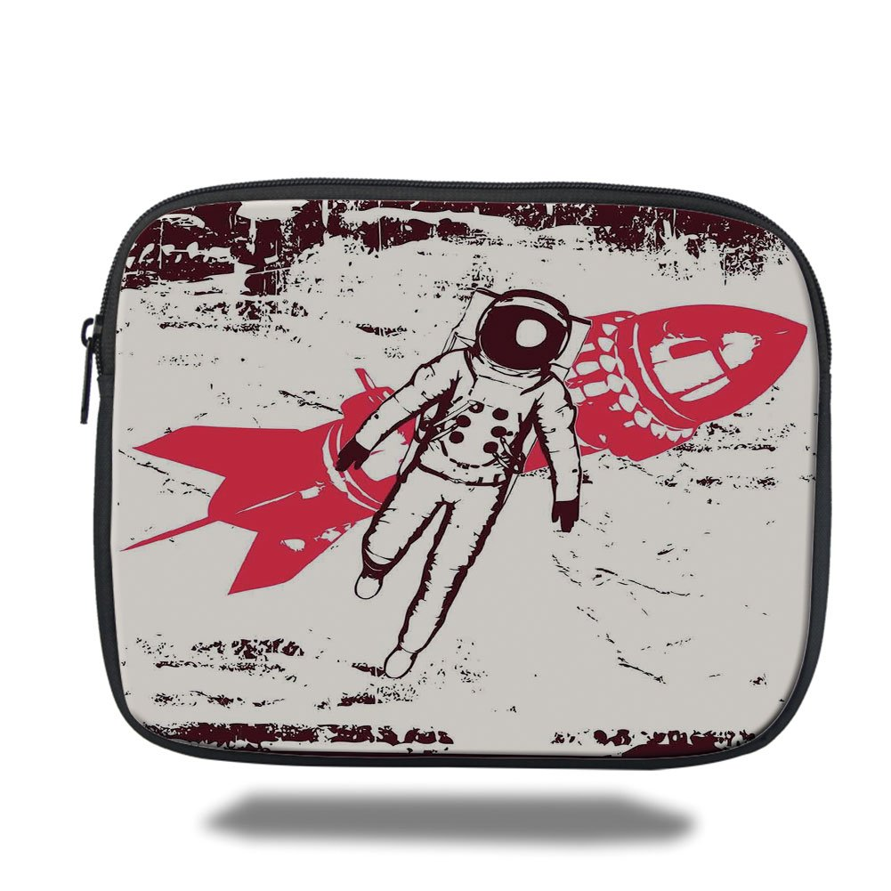 Laptop Sleeve Case,Vintage,Retro Space Travel Astronaut over the Planet Earth Original Solar Futuristic Art,Red Brown Cream,iPad Bag