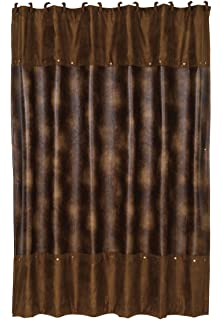 HiEnd Accents Rustic Faux Leather Shower Curtain With Hooks