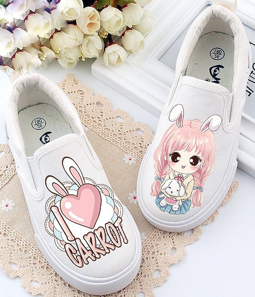 VECJUNIA Girls Lovely Cartoon Slip-Resistant Flats Fabric Loafers for School