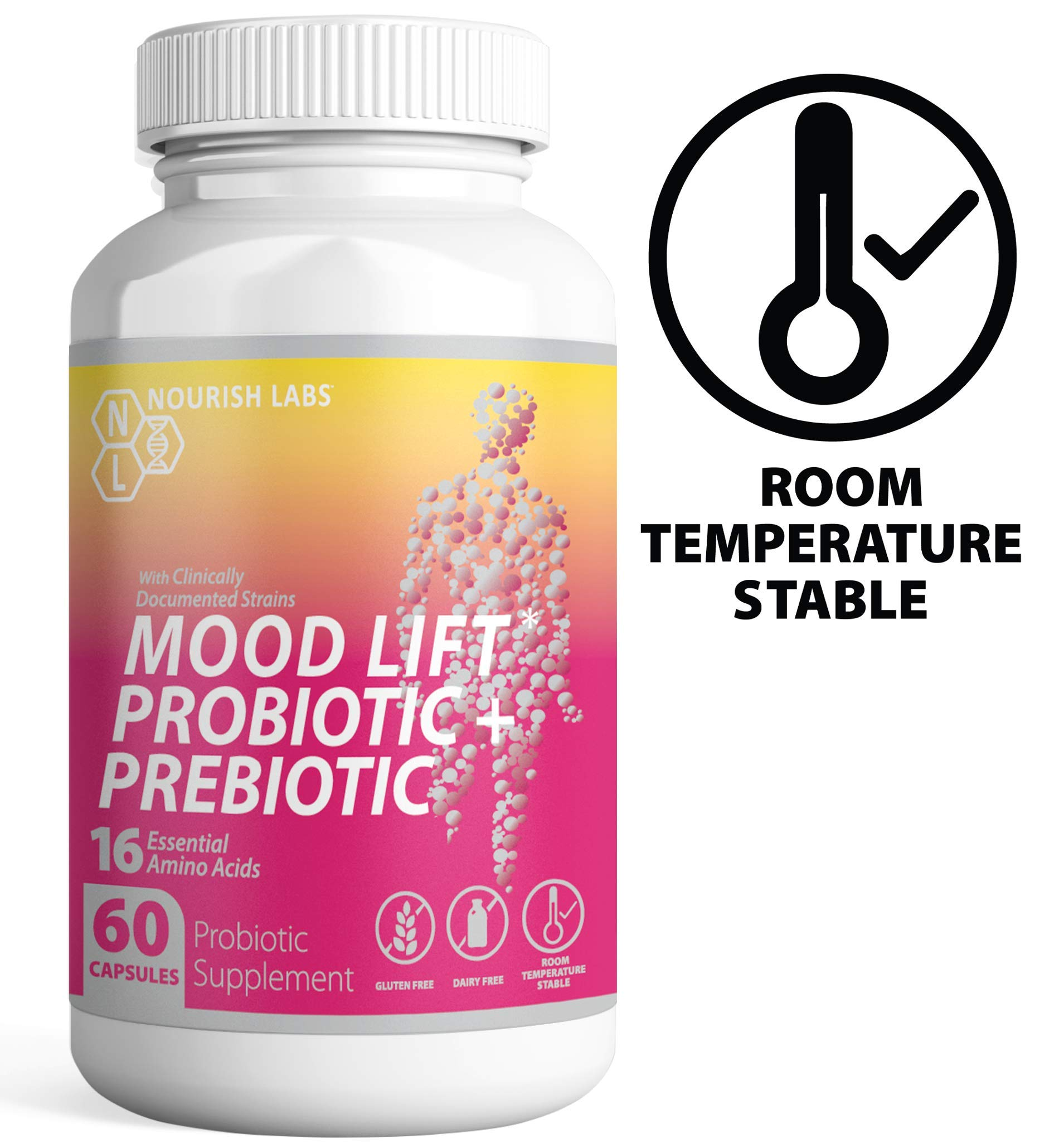 Nourish Labs Organic Prebiotics and Probiotics for Women. Clinically Proven Mood Boosting Dual Action Probiotics with Prebiotics and Cranberry. No Refrigeration Needed. by Nourish Labs