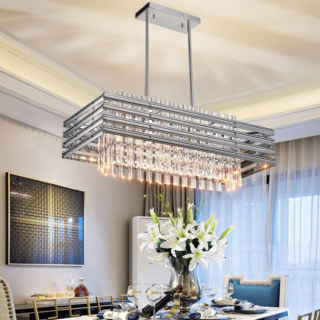"""Dining Room Chandelier,Modern Rectangle Pendant Light,Crystal Chandelier,L31.5"""" x W13.8"""" x H48.5"""",6 Light, Adjustable Height,Polished Chrome,UL Listed by TZOE"""