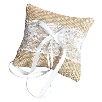 TOOGOO(R) Almohadilla del anillo de boda rustica del yute de ...