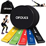 Resistance Bands and Exercise Core Sliders - OFOLICS Workout Loop Bands Set of 5 and Dual Sided Gliding Discs Set of 2 - Perfect Workout Equipment for Yoga Crossfit Fitness Strength Physical Therapy Recovery Home Gym