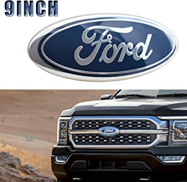 Front Tailgate Grille Replacement Badge Emblem Medallion Name Plate Compatible with 2005-2014 F150 Dark Blue Oval 9 X 3.5 With 2 Nuts