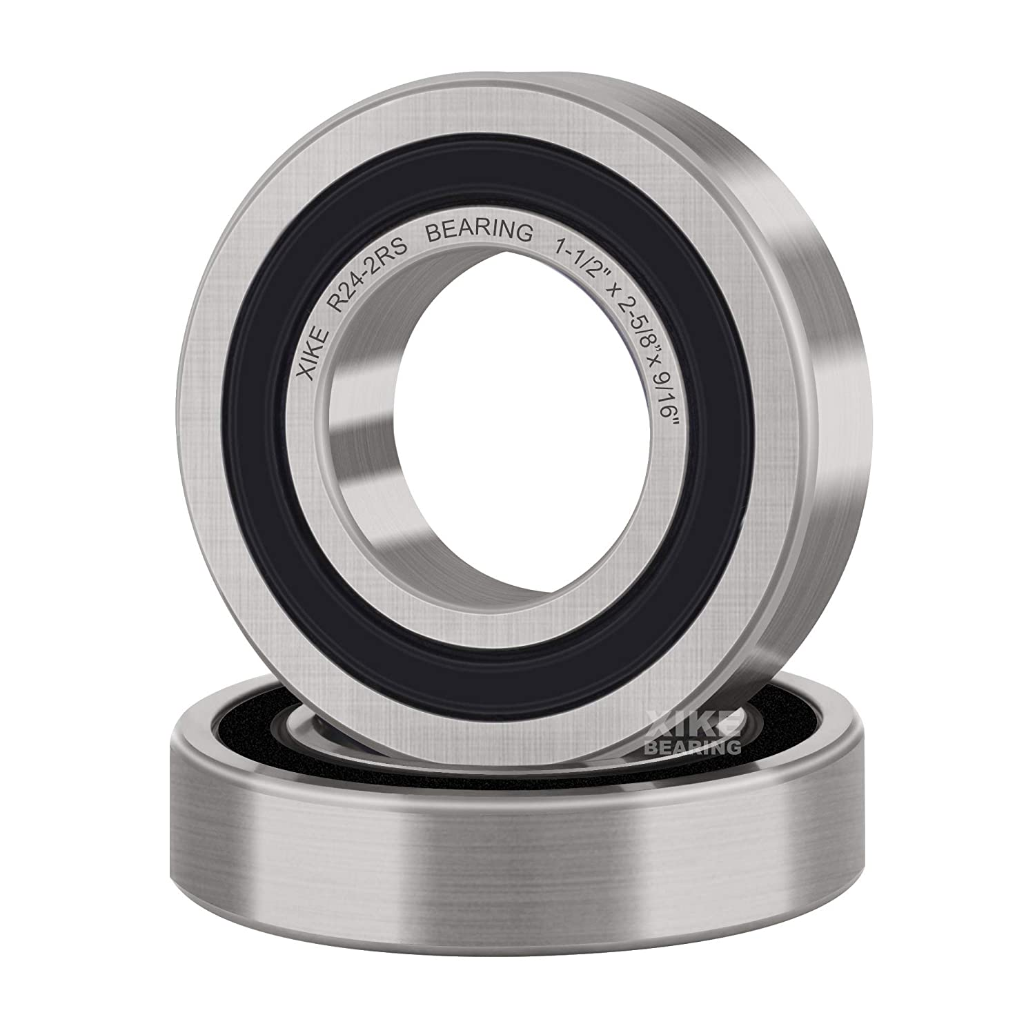 XiKe 2 Pcs R24-2RS Double Rubber Seal Bearings 1-1//2 x 2-5//8 x 9//16 Deep Groove Ball Bearings. Pre-Lubricated and Stable Performance and Cost Effective