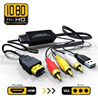 Qgeen HDMI to Composite AV 3 RCA CVBS Video Audio Converter Adapter Cable 720p 1080p Upscaler with USB Charge Cable for TV PC PS4 DVD VHS VCR Camera