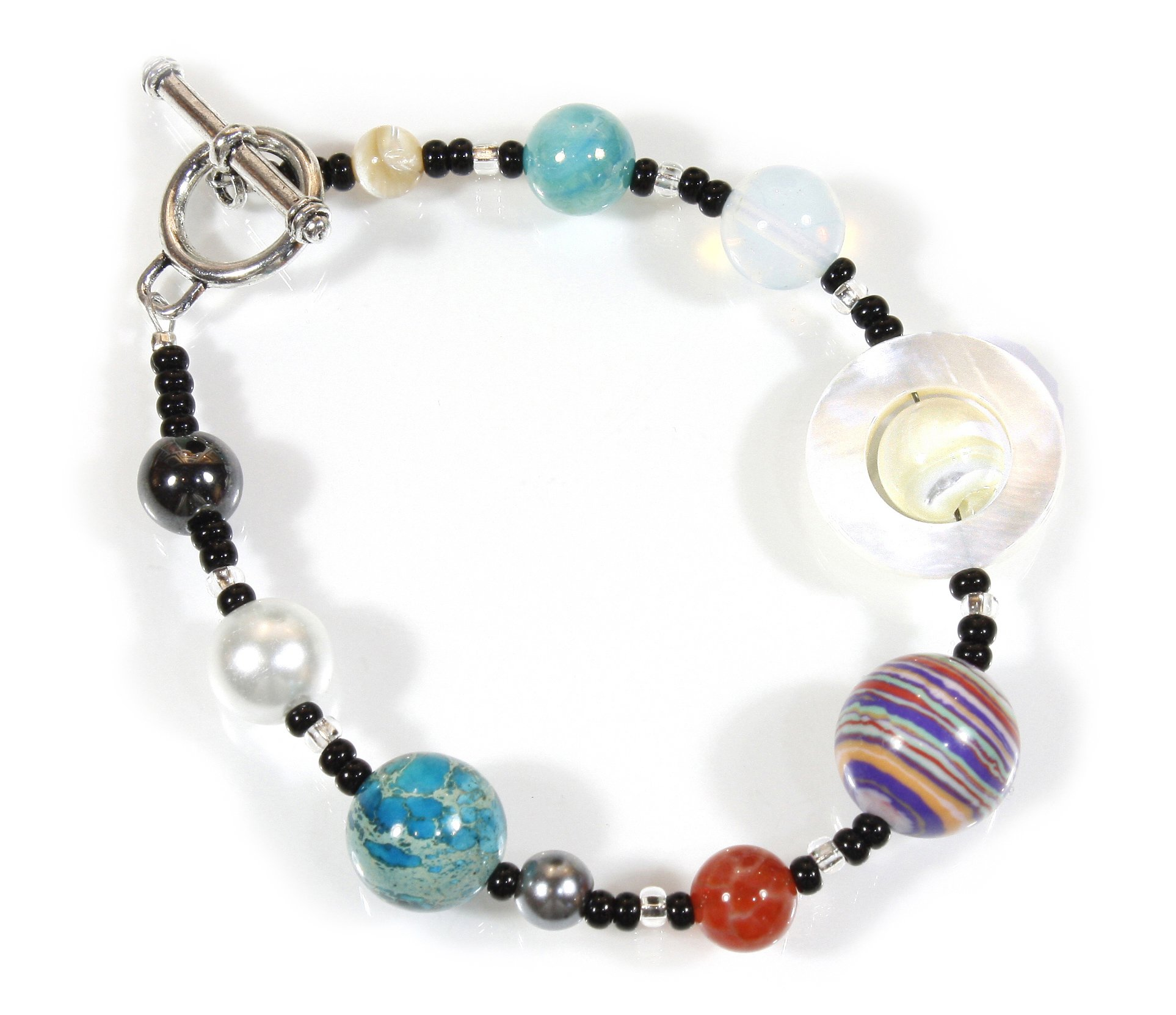 The Nine Planets Bracelet, The Solar System in Assorted Stones, 8 Inches by Style ARThouse