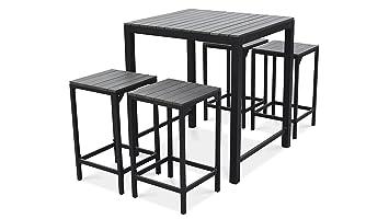 Oviala Table Haute de Jardin et 4 Tabourets en Aluminium: Amazon.fr ...