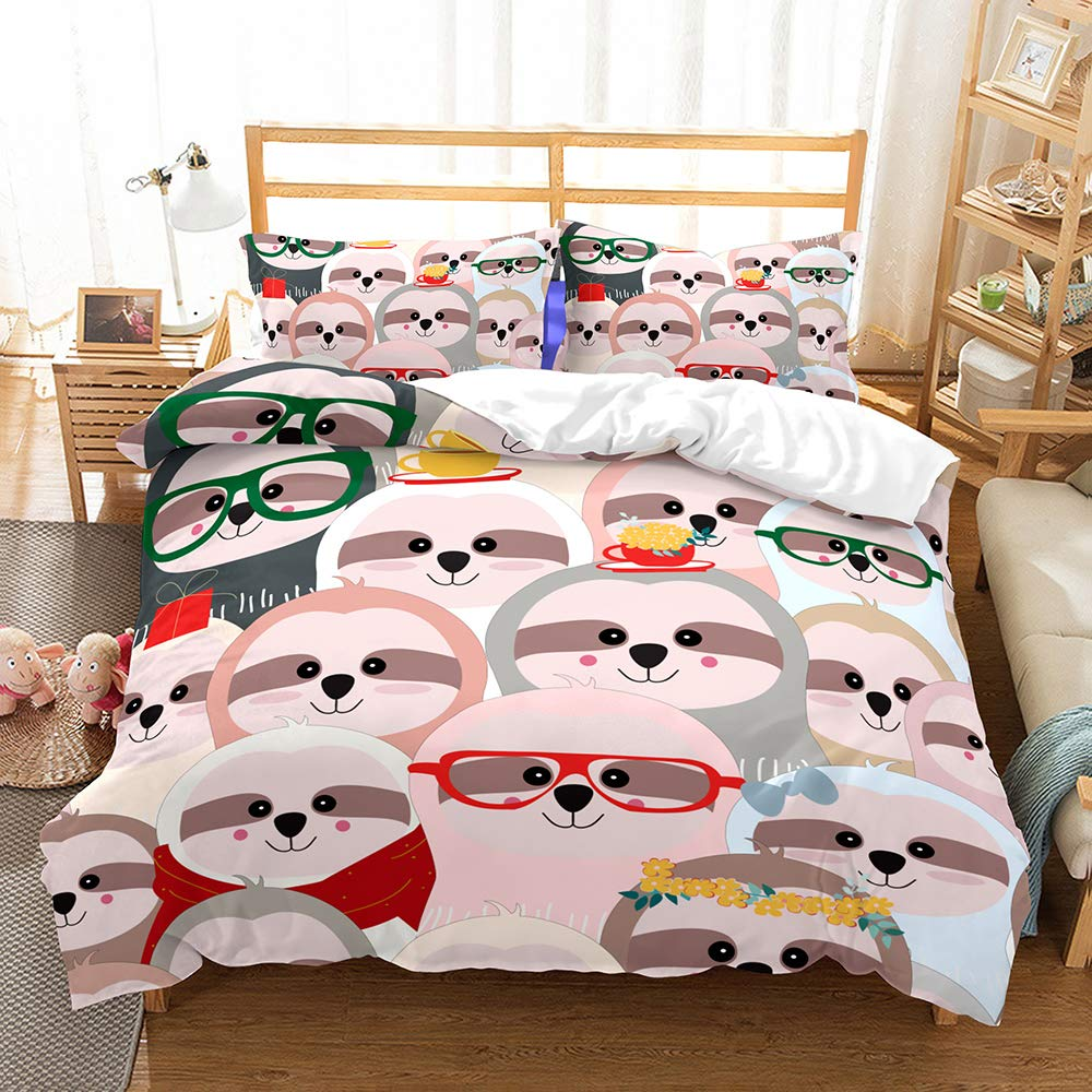 ZHH Sloth Duvet Cover Sets Kids' Bedding Set Ultra Soft Hypoallergenic Microfiber Cartoon Colorful Print Girls Boys Children's Quilt Cover Bedding Set, 1 Duvet Cover + 2 Pillowcases(Queen Size)