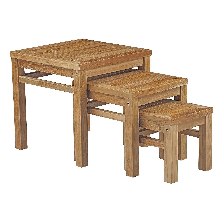 Amazon Com Modway Marina Teak Wood Outdoor Patio 3 Piece Nesting