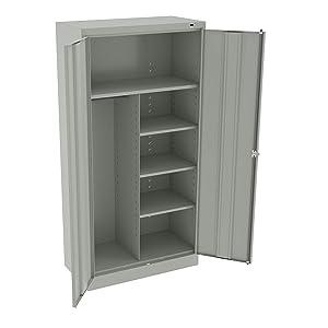 """Tennsco 7214 24 Gauge Steel Standard Welded Combination Storage Cabinet, 5 Shelves, 150 lbs Capacity per Shelf (50 lbs per Half Shelf), 36"""" Width x 72"""" Height x 18"""" Depth, Light Grey"""