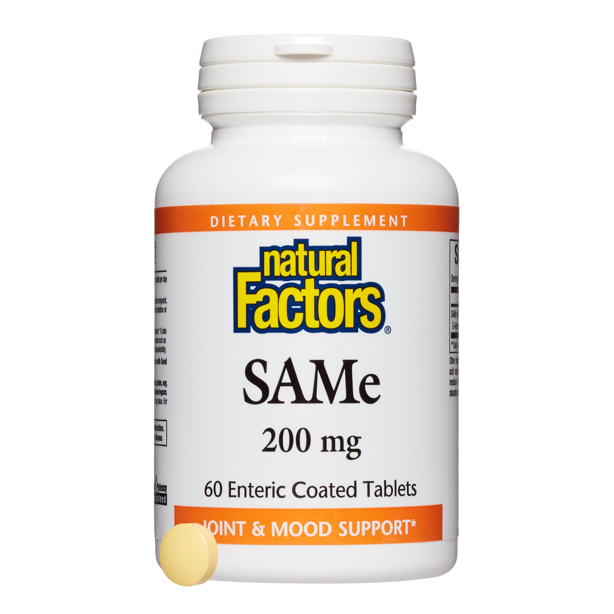Natural Factors, SAMe 200 mg, Helps Elevate Mood and Improve Joint Health, 60 tablets (60 servings) by Natural Factors