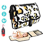 Portable Diaper Changing Pad , Large Detachable Waterproof Baby Changing Mat with Head Cushion and Pockets Foldable Infant Changing Station by Homegician, with Disposable Waste Bag Dispenser